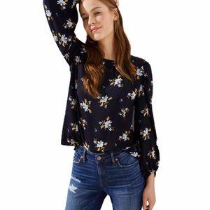 LOFT Vine Puff Sleeve Blouse in Navy/Floral Print